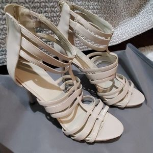 Strappy patent nude sandals